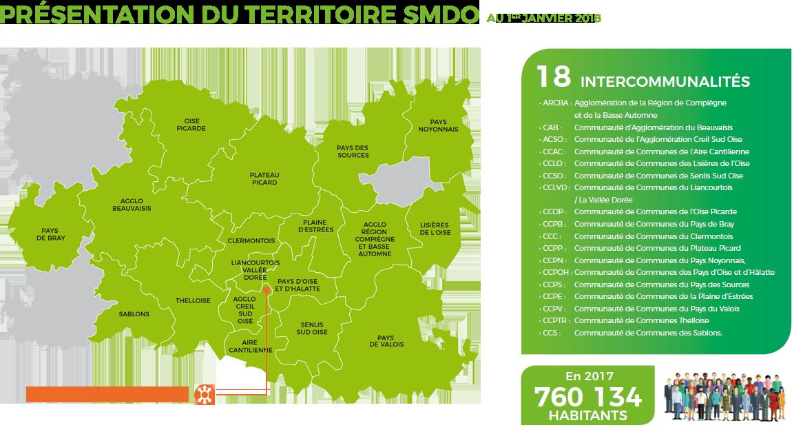Carte des installations du SMDO au 1er janvier 2018